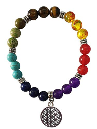Women's bracelet 'Chakra flower of life' 21 gemstones with metal pendant and flexible rubber band, diameter 7 cm, 20 g.