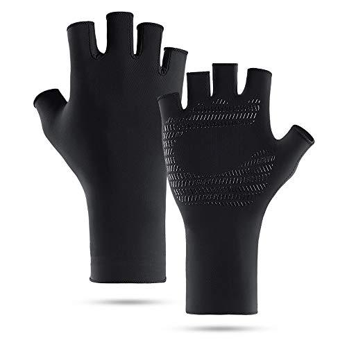 Sonnenschutz Fingerlose Kajakhandschuhe Männer Frauen zum Segeln Wandern Rudern Fahren UV-Fischen Handschuhe Handschuhe (Color : Schwarz, Size : L)
