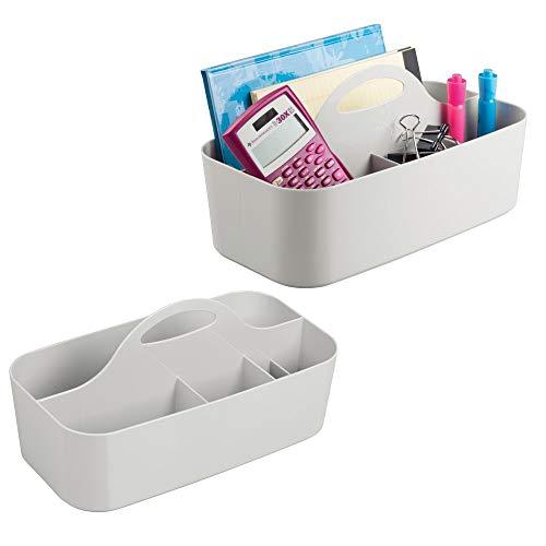mDesign 2er-Set Schreibtisch Organizer mit Griff (klein) – praktisches Schreibtisch Ordnungssystem aus Kunststoff – tragbare Schreibtischablage für Scheren, Stifte etc. – je 6 Fächer – hellgrau