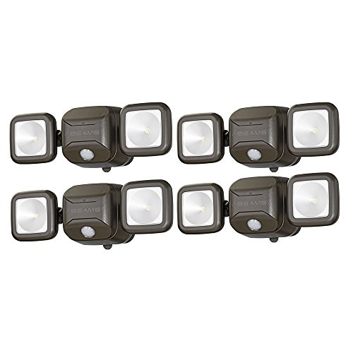 Mr. Beams MB3000 High Performance Wireless Battery Powered Motion Sensing Led Dual Head Security Spotlight, 500 Lumens, Brown, 4 Pack