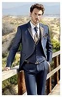 衣装ホム光沢のある格子縞のベストの男性の結婚式のスーツの新郎タキシードスリムフィット2つのボタンプロムパーティーブレザー3個 メンズスーツスリムフィット (Color : As the image, Size : XL)