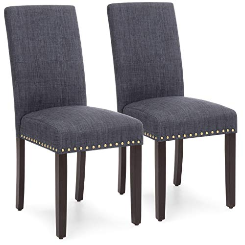 Best Choice Products Set of 2 Upholstered Fabric High Back Parsons Accent Dining Chairs for Dining Room, Kitchen w/Wood Legs, High Density Foam Padding, Nail Head Stud Trim - Gray