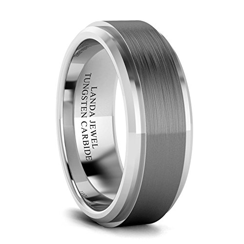 LANDA JEWEL Tungsten Carbide 8mm Wedding Band for Men Beveled Edges Highly Polished and Center Brushed Comfort Fit (T)