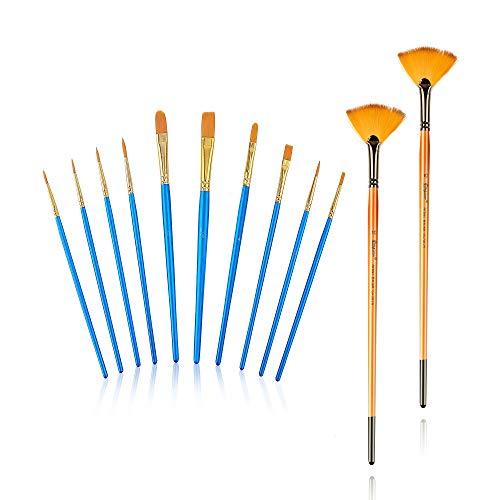 pinselset Schule,12 Stück Nylon Acrylfarben Pinsel für Aquarell Ölgemälde Schule und Hobbykünstle Ölfarben Brush Set für Anfänger, Kinder, Künstler (Blue)