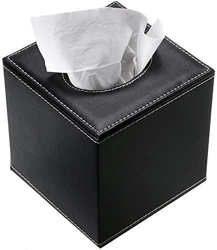LOXZJYG Ledergewebekastenhalter, quadratischer Serviettenhalter Pumpenpapierhüllespender, Gesichtsgewebehalter mit magnetischem Boden für Home Office (Farbe : Schwarz)