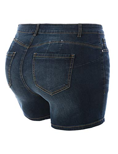 LE3NO Womens Plus Size Fitted High Rise Push Up Denim Jean Shorts
