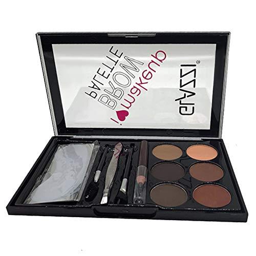Vtrem Eyebrow Palette Augenbrauen-Kit mit feinen Pudern + Augenbrauenpinsel Pinsel + Augenbrauenstift + Pinzette + Schablone Professionelles Make-up-Tool Natürlicher Lidschatten [02#]