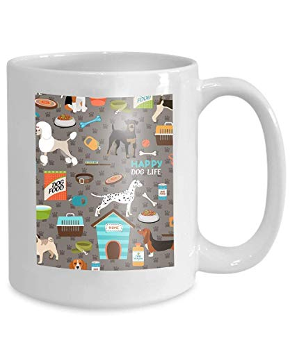 Mug Coffee Tea Cup Dogs German Shepherd Pug Bloodhound Rottweiler Beagle Dalmation Poodle Fox Terrier 110z