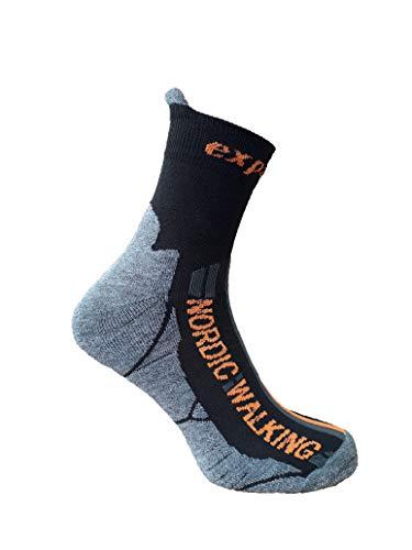 eXPANSIVE NORDIC WALKING TREKKING SOCKS Black/Grey/Orange size UK 2.5-5 / EUR 35-38 by eXPANSIVE