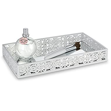 Dwellza Mirror Janette Vanity Mirror Tray for Dresser (11  x 6.12  x 1.6 ) – Decorative Cosmetics Organizer- Durable Resin- Best Trays for Arranging Perfume Jewelry Makeup (White)
