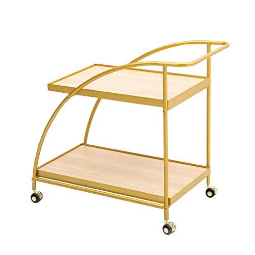 Jcnfa-Mesas Carro de Cocina Multifuncional, Coche Comedor de Metal, Carro de Vino móvil, Aparador con Ruedas (Color : Wood, Size : 15.74 * 25.98 * 25.16in)