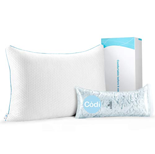 Adjustable Shredded Memory Foam Pillow with Queen Size 18x28.5 AIR-LOFT Cooling Structure, Best Pillow for Back Sleepers, Certipur-US Certified Cold Shredded Gel Memory Foam Pillow