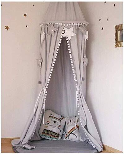 EXQULEG Baby Baumwolle Betthimmel Deko, Baldachin Mückennetz für Schlafzimmer Ankleidezimmer Spiel Lesen,Höhe 2,45m (Grau(mit Ball Baldachin))