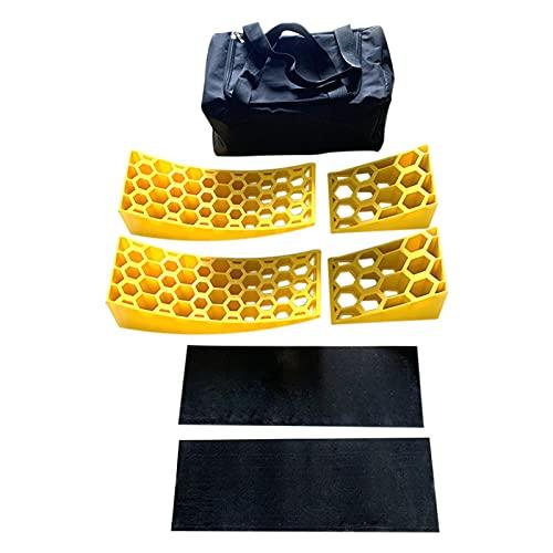 Paquete de 2 rampas de nivelación para caravanas, bloques rampa de nivelación para caravanas RV, nivelador para caravana incluye 2 niveladores curvos,2 calzos y 2 alfombrillas de agarre de goma, bolsa
