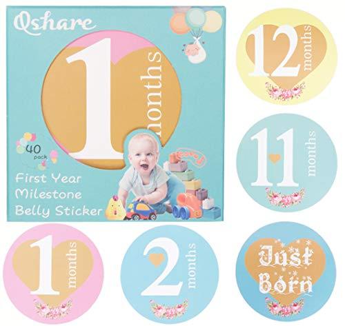 Qshare Baby monatliche Meilenstein Aufkleber - (Set von 40) Premium Aufkleber für Neugeborene Baby Foto Prop - beste Baby Shower Registry Geschenk oder Scrapbook Foto Memory Andenken
