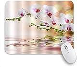 Mobeiti Gaming-Mauspad, Orchideen gießen schöne Blumen mit Tau auf japanischem Zen-Gartenteich rutschfeste Gummiunterlage Mauspad für Notebooks Computer Mausmatten