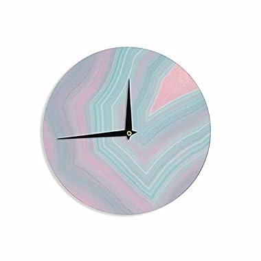 KESS InHouse Cafelab  Sweet Pastel Agate  Pink Blue Wall Clock, 12