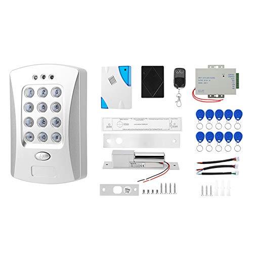 Kit Sistema de Control Acceso Controlador Contraseña,RFID Kit de sistema control acceso puerta autónomo Fuente alimentación Control remoto Bloqueo eléctrico dos cables Kit