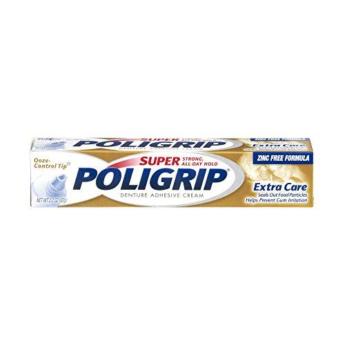 SUPER POLIGRIP Denture Adhesive Cream Extra Care 2.20 oz (Packs of 2)