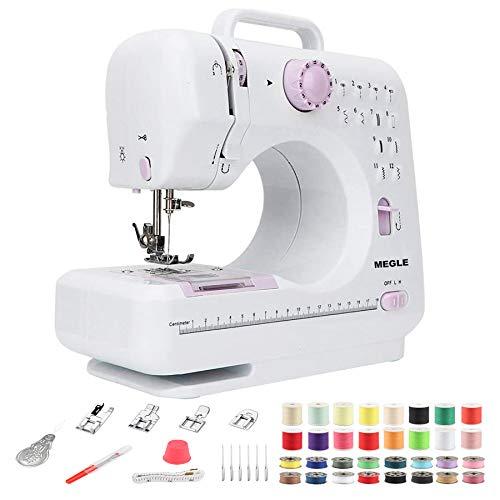 Máquina de coser para principiantes con DVD instructivo, manual de 5 idiomas, 52 piezas de accesorios, 12 puntadas incorporadas, doble hilo de 2 velocidades, MEGLE FHSM-505