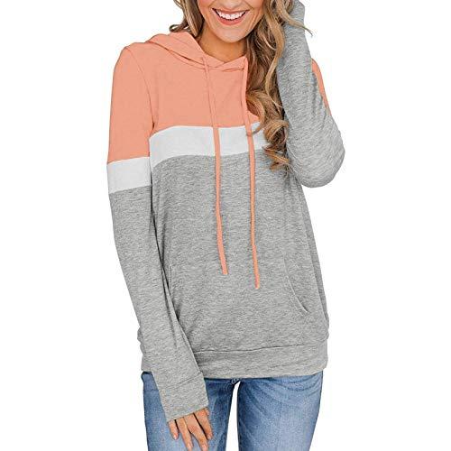 Sudadera de manga larga a rayas con capucha de color block túnica con cordón y bolsillos, Rosa y gris., S