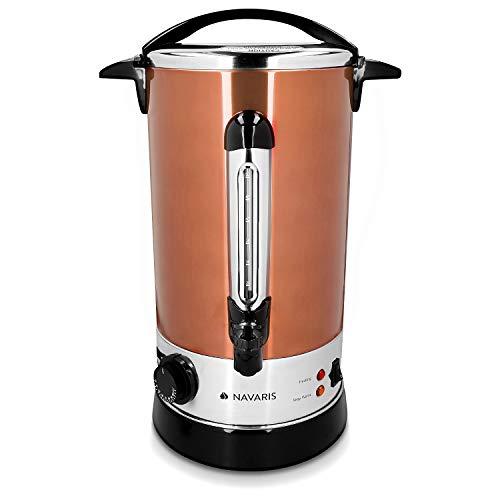 Navaris Hervidor de agua eléctrico de 10L con grifo - Dispensador de bebidas calientes con termostato - Olla eléctrica para té café y vino - Cobre