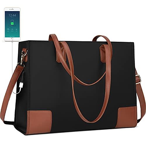 Tote Bag for Women Laptop Bag 15.6 Inch laptop USB Teacher Bag Large Work Bag Waterproof Nylon Shoulder Bag Black