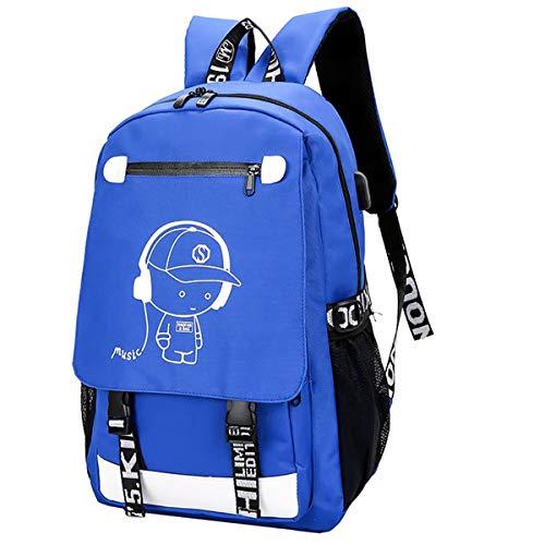 Schultasche,Rucksack Sports Schultasche Leisure Rucksack Luminous Rucksack mit USB Charger Port Student Backpack für Mädchen Jungen & Kinder Damen Herren Jugendliche(Kinder Schulrucksack Blau)