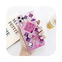 Josms マーブルテクスチャグリッターブリンブリンfor iPhoneケース11Pro Max X XS XR Xs Max 6 6s 7 8Plus幾何学的な輝く裏表紙-T4-for iPhone 7 Plus