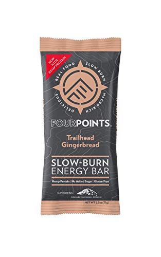 Fourpoints Energy Bars, Trailhead Gingerbread, Plant Based Hemp Protein, (2.5oz, Box of 12), Vegan, Paleo, Gluten Free, NO Added Sugars