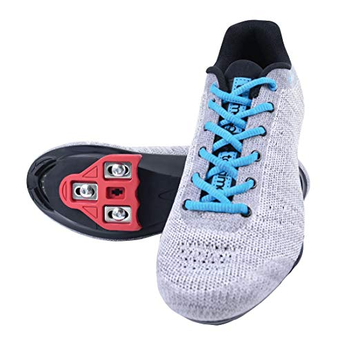Tommaso Pista Aria Knit Women's Indoor Cycling Class Ready Shoe and Bundle - Grey/Blue - Look Delta - 40