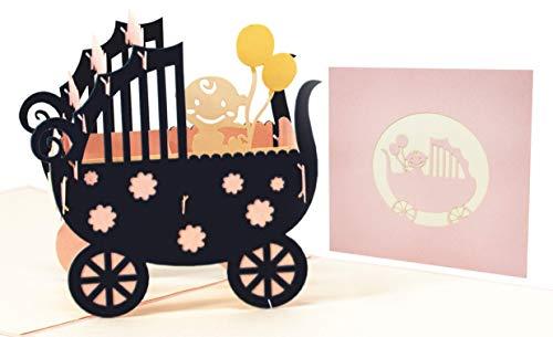 LIMAH® Pop Up Glückwunschkarte für Mädchen zur Geburt, Baby-Karte Geburtstagskarte für Neugeborene. Mit einem 3D Kinderwagen und Baby. Its a Girl (rosa)