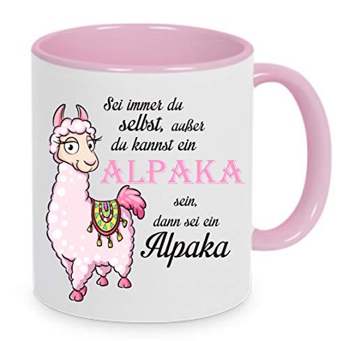 Crealuxe Sei Immer du selbst ausser du bist EIN Alpaka dann sei EIN Alpaka - Kaffeetasse mit Motiv, Bedruckte Tasse mit Sprüchen oder Bildern