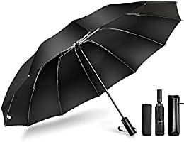 DeliToo (2021 Latest 12 Ribs & Reverse Folding Type) Folding Umbrella, One Touch, Automatic Open/Close, Large,...