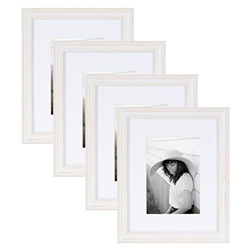 Kate and Laurel Bordeaux Wood Photo Frame 4 Piece Set - 8x10 matted to 5x7 for Customizable Wall or Desktop Display, Whitewash Finish