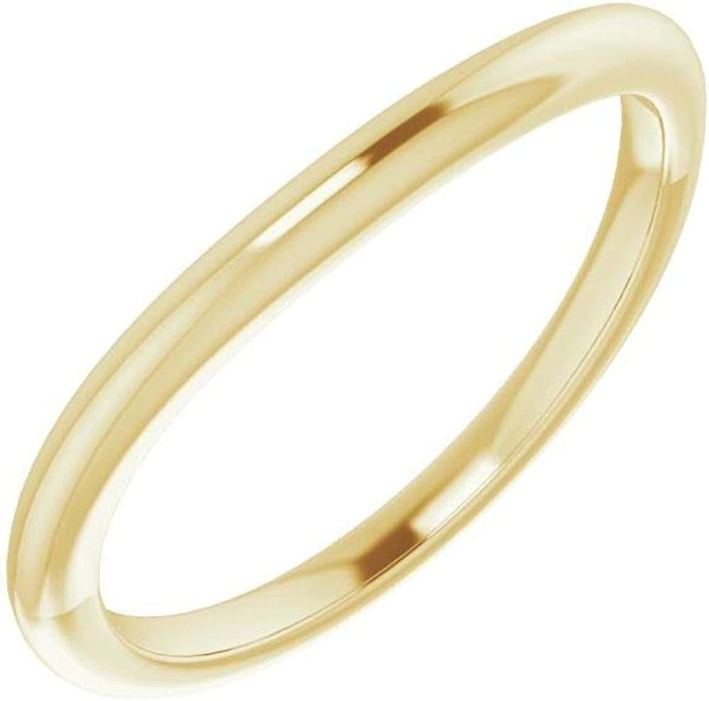 Solid 14K Yellow 2021 spring and summer new Gold Curved Notched Max 67% OFF Wedding x Ov 6mm 8 Band for