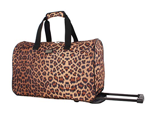 Steve Madden Designer Carry On Luggage Collection - Lightweight 20 Inch Duffel Bag- Weekender Overnight Business Travel Suitcase with 2- Rolling Spinner Wheels (Cool Cat)
