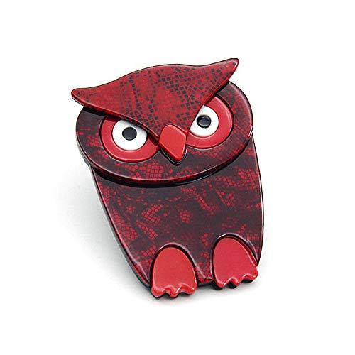 Mode acrylhars uil rood voor vrouwen Vogels Broche voor sjaal Kerstversiering Broche
