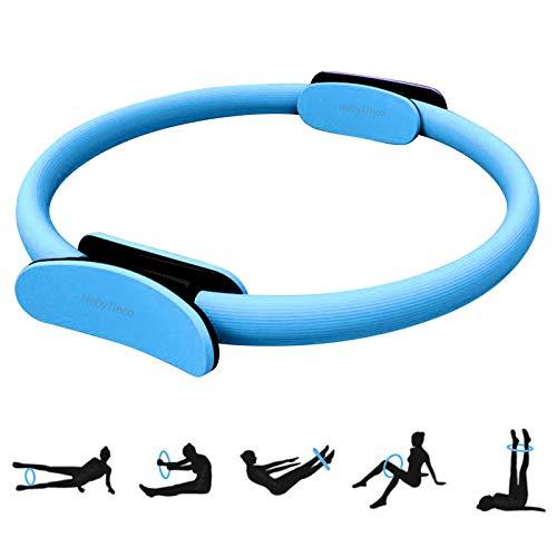 HebyTinco Círculos Profesionales de Yoga, Anillo de Pilates con asaentrenamiento para Resistencia y Flexibilidad, Anillo de Doble asa de Pilates, aro Yoga para Mujer(Azul)