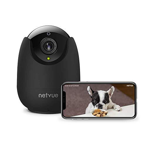 Caméra Surveillance WiFi Interieur, Netvue FHD 1080P Caméra IP sans Fil avec Détection de Humain Mouvement, Video Zoom 8X, Vision Nocturne, Audio Bidirectionnel, Webcam WiFi pour Alexa/ Bébé/ Chien