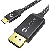 USB C to DisplayPort Cable (4K 60Hz, 2K 144Hz / 165Hz), WARRKY [Gold-Plated Anti-Interference] Thunderbolt 3 and 4 Compatible Adapter for MacBook Pro/Air 2020, New iPad, XPS 15/13 - Active, 6.6ft