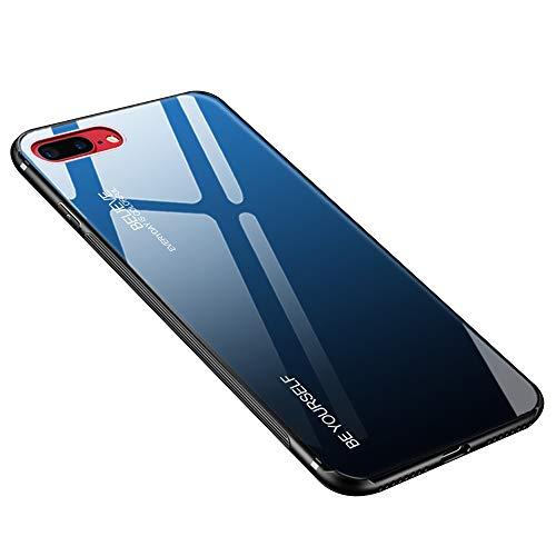 Hülle für iPhone 8 Plus, Hülle für iPhone 7 Plus Gehärtetes Glas Zurück mit Weichem TPU Silikon Rahmen Handyhülle Farbverlauf Farbe Case Schutzhülle für iPhone 7 Plus / 8 Plus (Blau-Schwarz)