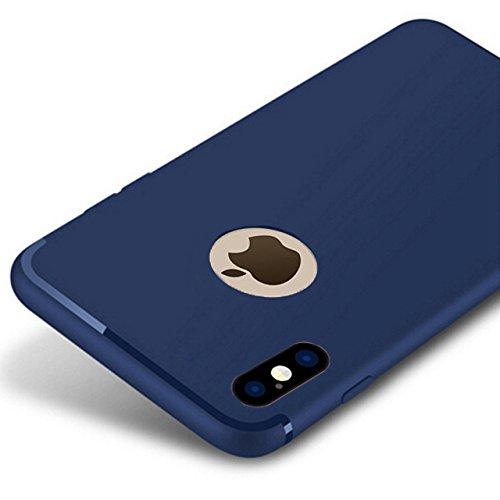 PfX] Blau Matte Hülle geeignet für iPhone X Special-Edition TPU Silikonhülle mit integriertem Staubschutz Ultra-Slim (0,5mm Dicke) (Blau)