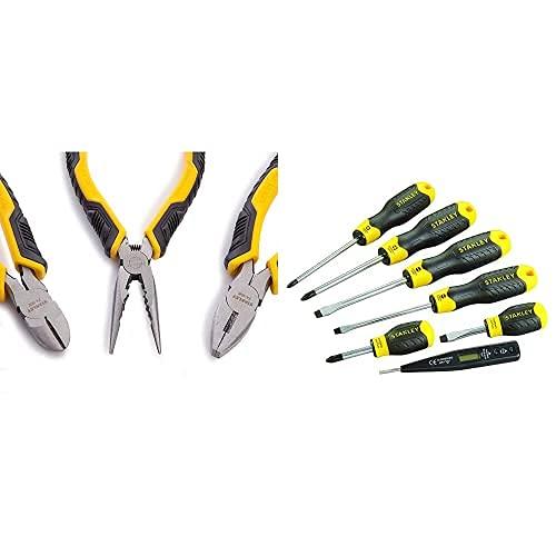 Stanley Juego Alicates Control Grip; universal + Corte Diagonal + Boca Larga + Juego De 6 Destornilladores Cushion Grip: Plana