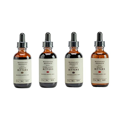 Bourbon Bitters Bundle: Woodford Reserve Aromatic, Spiced Cherry, Orange, and Chocolate Cocktail Bitters - 2 oz Each (Original Version)