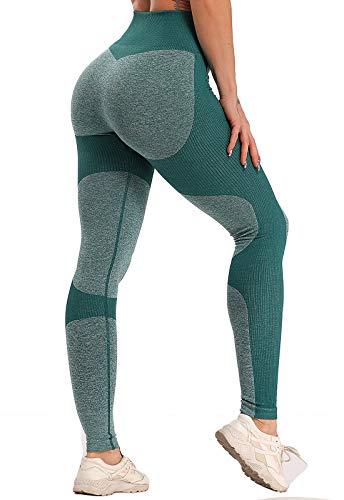 FITTOO Leggings Sin Costuras Mujer Pantalon Deportivo Alta Cintura Yoga Elásticos Fitness SeamlessGP1600#1 Verte Small