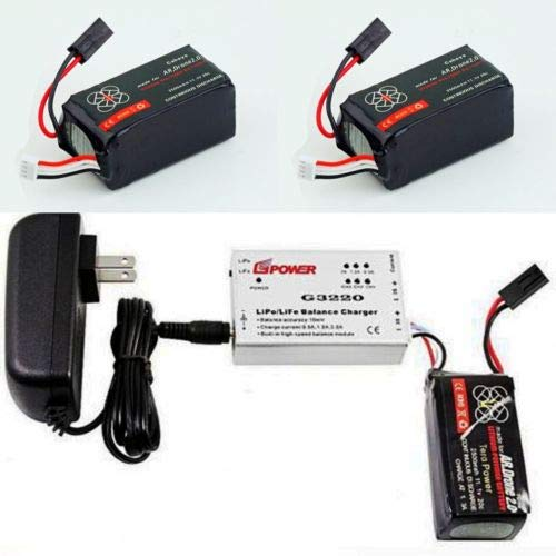 GIFI POWER 2 X 2500mAh 11.1 V Battery for Parrot AR Drone 2.0 + Quick Balance Charger