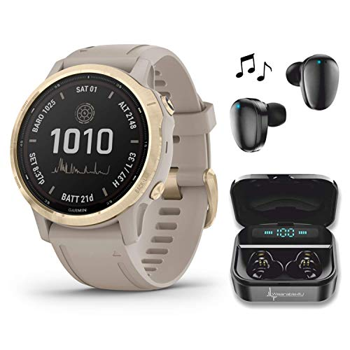 Garmin Fenix 6S Pro Solar Women of Adventure Premium Multisport GPS Smartwatch with Included Wearable4U Ultimate Black Earbuds with Charging Power Bank Case Bundle (Light Gold w/Light Sand Band)
