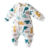 Happy cherry - Mameluco de Dormir de Acolchado de Algodón para Infantiles de Invierno Saco Dormido de Bebes con Estampada de Dinosaurio para Niños de 3 años