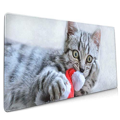 Alfombrilla Grande para Alfombrilla de ratón para Juegos, patrón de diseño de Gato navideño Alfombrilla de Escritorio de Alfombrilla de ratón extendida Larga Bordes cosidos (35.5x15.8 Pulgadas)